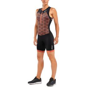 2XU Active Combinaison de triathlon Femme, black/sherbet print